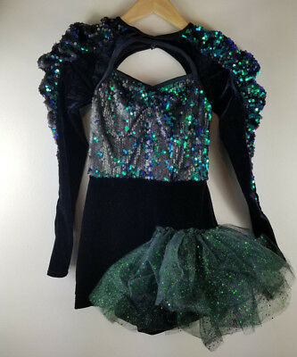 WEISSMAN Dance Costume Black Green Sequin Tulle Small Adult