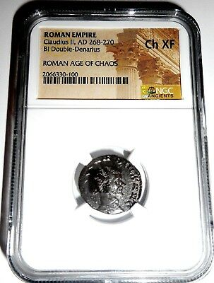 Ancient Roman Empire Claudius II Bi Double Denarius Coin,NGC Certified Ch XF