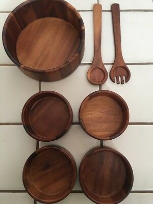 Macy's Teak Salad bowl set made in Thailand