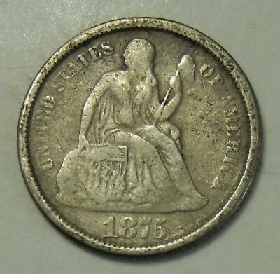 1875-S Seated Liberty Dime ~ Above Bow  ~ Good Details ~ 10¢ Silver Coin
