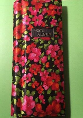Vintage 1970s Retro Photo Album W/ Bright Floral Cloth Cover, Fold-out Pages