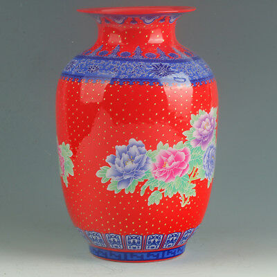 Chinese Porcelain Hand-Painted Peony Vase Mark As The Qianlong Period  R1136`b