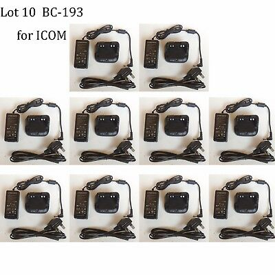 10X BC-193 Li-ion Rapid Charger Power Supply Adapter for IC-F3100D Radio