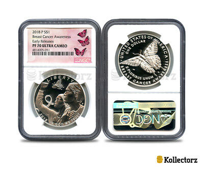 2018 P Proof $1 Silver Breast Cancer Awareness Pf70 Ultra Cameo Early Releases!