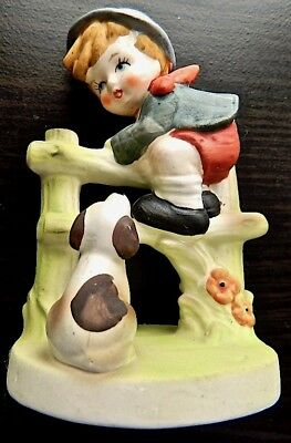 """Flambro Collector's Choice Series """"Boy Climbs Fence with Dog Watching"""" Figurine"""