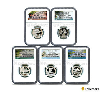2018 S Silver 25C Set America The Beautiful 5-Coin Set Ngc Pf69 Early Releases!!