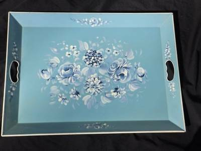 Beautiful Vintage Hand Painted Tole Tray~Cornflower Blue~Gorgeous!!!