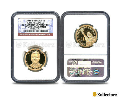 2016 S  Ronald Reagan13-Coin Silver Set $1 Ngc Pf70 Ultra Cameo Early Releases