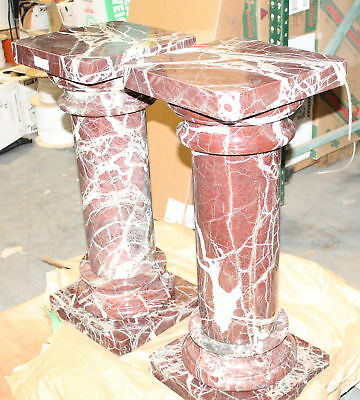 """Pair Beautiful Red 5 Piece Separating 33"""" Marble Stone Pedestals 142C"""