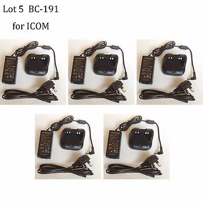 Lot 5 BC-191 NI-MH Rapid Charger Power Supply Adapter for ICOM IC-F3100D Radio