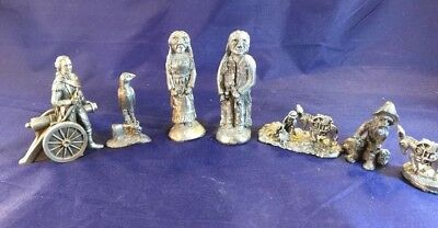 Lot of 7 Vtg MINI FINE PEWTER CIRCUS FIGURINES Hudson,J Ritter Franklin Mint ?