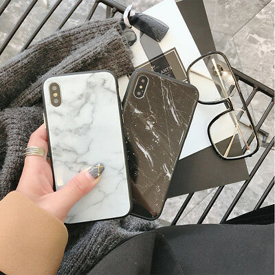 Cool Granite Marble Stone Effect Glass Shell Case Cover For iPhone 6S 7 7P 8P X