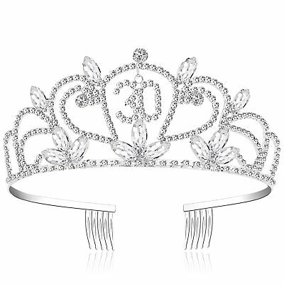 Happy Birthday 30th Silver Crystal Tiara Princess Crown Hair Styling Accessories