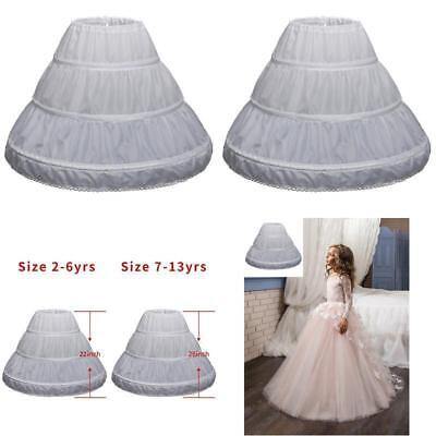 New 3 Hoop A-Line Crinoline Petticoat Underskirt Children for Flower Girl