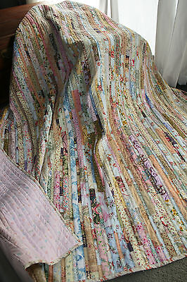 "NEW - Hand Made Quilt ""SHABBY CHIC STRIPPY"" Design by Quilt-Addicts 79"" x 78"""