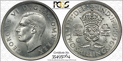 1940 Florin 2 Shillings Great Britain UK PCGS MS63 - SILVER