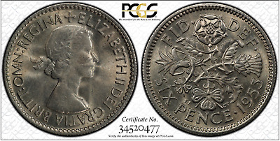 1953 6D Sixpence Great Britain UK PCGS MS65