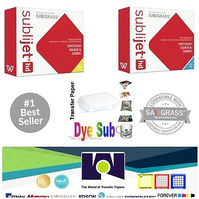 Sawgrass Sublimation Ink Cyan + Yellow Cartridges for SG400/SG800 + FREE Paper