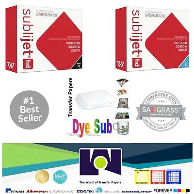Sawgrass Sublimation Ink Cyan + Black Cartridges for SG400/SG800 + FREE Paper