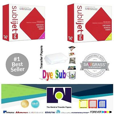 Sawgrass Sublimation Ink Magenta + Yellow Cartridges for SG400/SG800 + FREEPaper