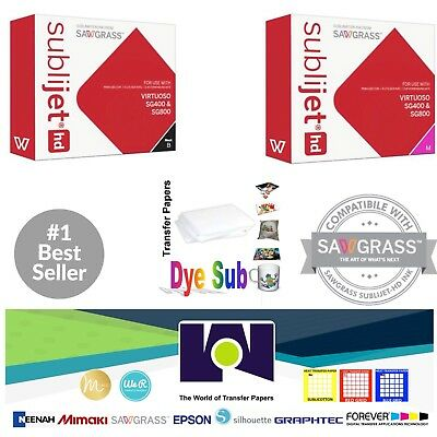 Sawgrass Sublimation Ink Magenta + Black Cartridges for SG400/SG800 + FREE Paper