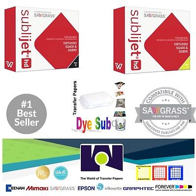 Sawgrass Sublimation Ink Black + Yellow Cartridges for SG400/SG800 + FREE Paper