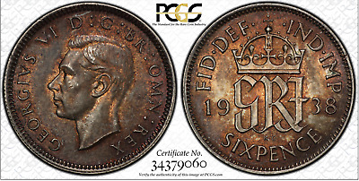 1938 6D Sixpence Great Britain UK PCGS MS62 - SILVER - DEEP BROWN TONING