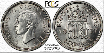 1937 6D Sixpence Great Britain UK PCGS AU58 - SILVER