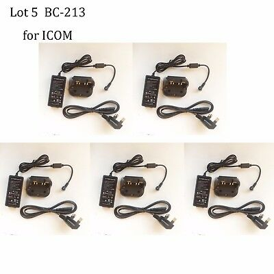 Lot 5 BC-213 Rapid Charger Adapter for ICOM IC-F2000T IC-F2000S IC-F2000 Radio