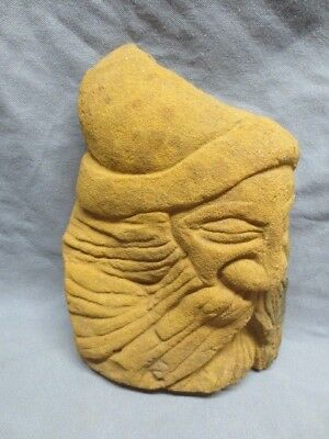 vtg/antique Hand Carved Sandstone Rock Belsnickle Old Man Head