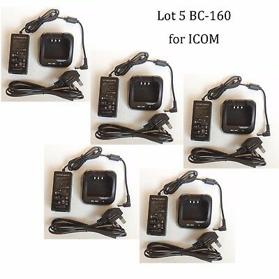 Lot 5 BC-160 Li-ion Rapid Charger Adapter for ICOM IC-F3263DT IC-F3263DS Radio