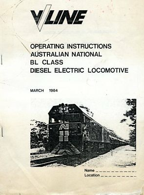 V/LINE Operating Instructions Australian National BL class diesel Locomotive1984