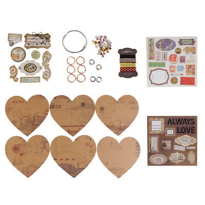 1 Set DIY Heart Shape Family Wedding Party Photo Album Scrapbook Material