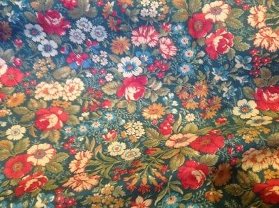 Retro Cotton Fabric Rose Floral On Green Print 112Cm X 210 C