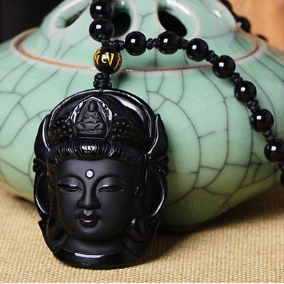 Black Natural Obsidian Carved Buddha Necklace Pendant Beads Amulet Good Luck