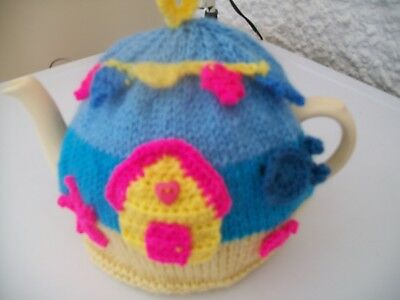 Hand Knitted Beach Hut Seaside Tea Cosy For A Medium Teapot 3-4 Cup Size