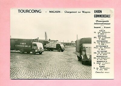 Carte Publicitaire : Union Commerciale / Tourcoing Gare - Camions Renault / Ford