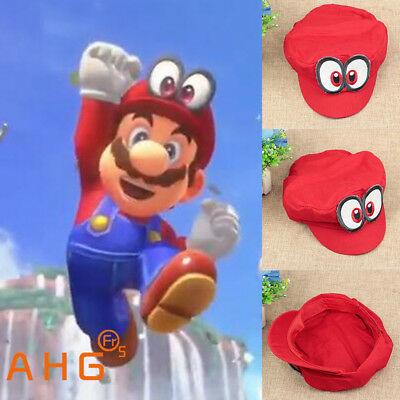 Cosplay Game Super Mario Odyssey Cap Adult Kids Anime  Red Mario Hat Handmade