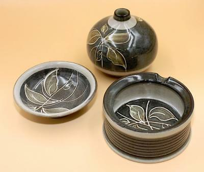 3 x Pieces of Vintage Denby Stoneware, Green & Gold Leaf, All Perfect