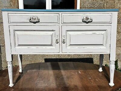 Shabby Chic Chalk Painted Distressed Victorian Washstand