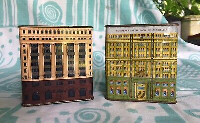 VINTAGE COMMONWEALTH BANK – BANK BUILDING MONEY BOXES x 2