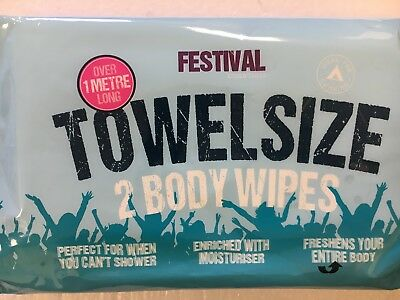 Festival Towel Size Body Wipes 2 Pack - Festivals/Camping/Outdoor Activities