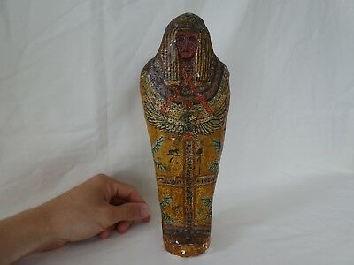 Vintage Egyptian Plaster Mummy Sarcophagus Model