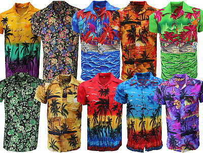 Mens Hawaiian Shirt Stag Beach Hawaii Aloha Party Summer Holiday Fancy