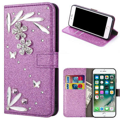 Magnetic Bling Diamond Leather Card Slot Wallet Case Cover For iPhone X 7 Plus