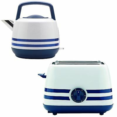 Prestige Retro Stripe Blue Electric Hot Water Kettle Jug And 2 Slice Toaster Set