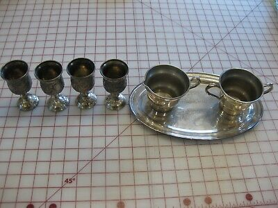Lot of Vintage Pieces~Silver Plated Goblets Heavy Silver over copper tray + 2 pc