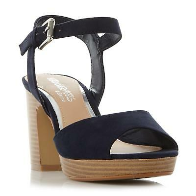 ebe1fd6079c Head Over Heels by Dune Ladies JEWEL Two Part Stacked Heel Sandal in Navy