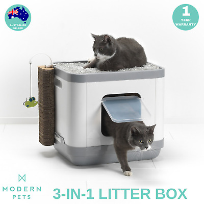 Cat Litter Box Bed Scratcher Post 3-in-1 Portable Hooded Tray w/ Odor Control