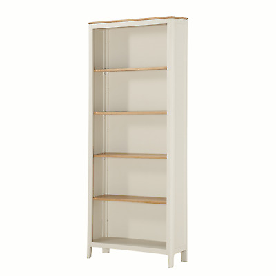 Modern White Tall Bookcase / Painted Large Bookcase / Solid Oak Top Shelving